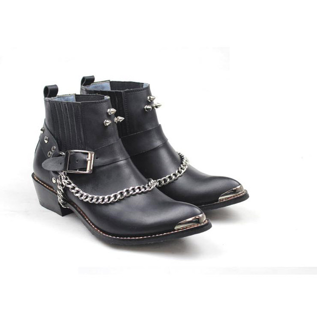 Yntparker New Man Western Boots Genuine Leather Shoe, Handmade Man leather short boots Footwear,  EU38-44,  Free Shipping