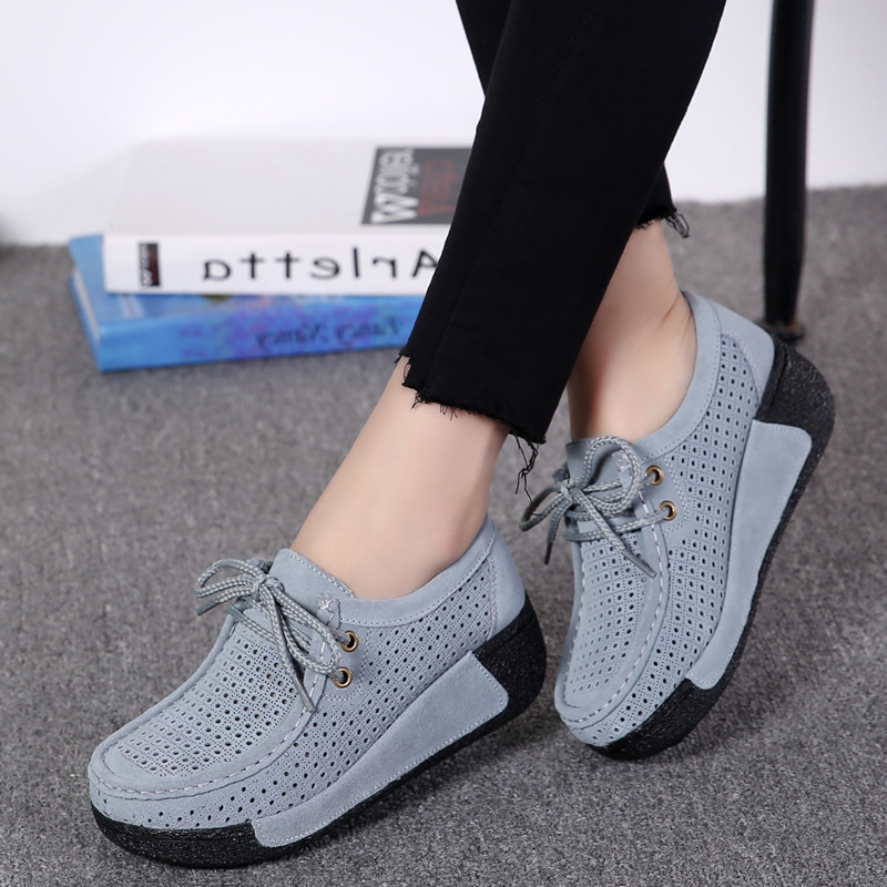 Women Flats Platform Shoes   Suede     Leather   Lace up women Moccasins Creepers slipony Female Casual Summer Shoes Ladies 2019