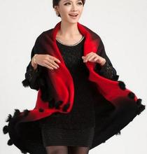 New winte  fur ball knitted shawl knit cardigan women cashmere wool jacket imitation 6302-45