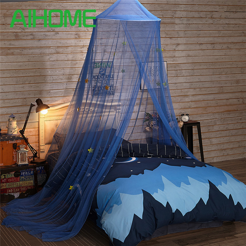 /& 4.92 ft Mosquito Net with Blue Stars for Baby Kids Indoor Outdoor Playing Reading Suitable for 3.94 ft Bed Blue /&5.91 ft