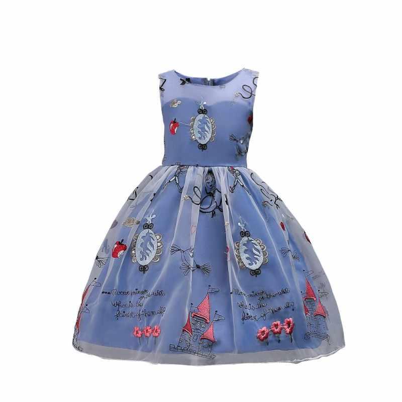 Heißer Kinder Kleider Herbst Winter Kinder Prinzessin Kleid Weste Stickerei Gaze Dance Leistungen Sleeveless Großen Bogen Kleid