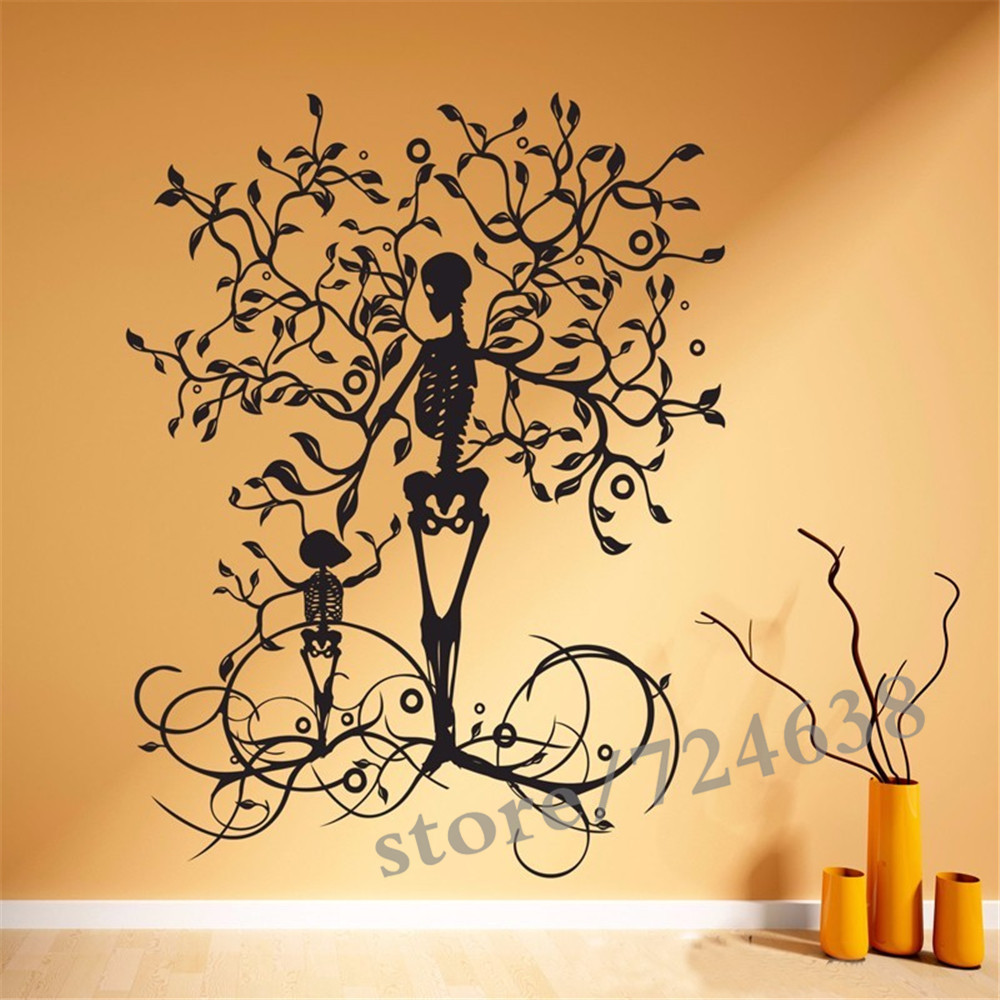 Halloween Decoration Skeleton Tree Wall Decal Removable Vinyl Wall ...