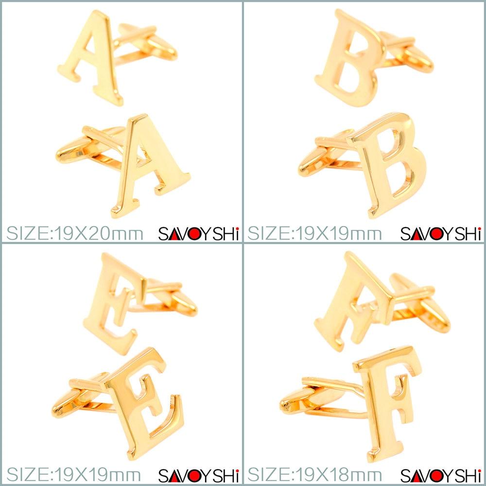 Gemelos de lujo de color dorado de 26 letras para hombres Accesorios de mangas de camisa Gemelos de alta calidad Boda SAVOYSHI Marca Joyería