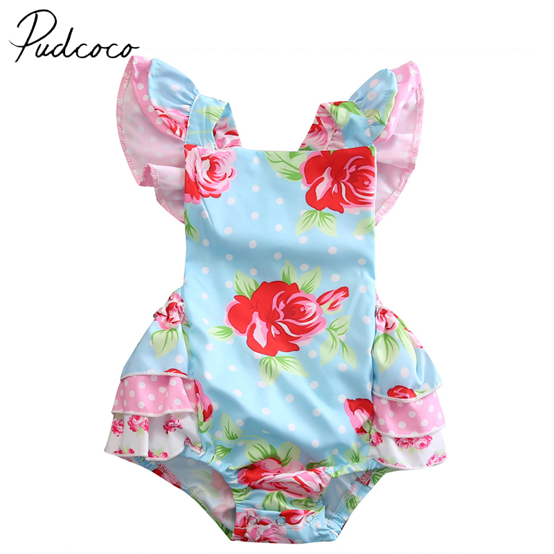 PUDCOCO Famous Brand Cotton Newborn Baby Girl Clothes Ruffle Floral Bodysuit  Jumpsuit Outfit  US Stock newborn infant baby girl clothes strap lace floral romper jumpsuit outfit summer cotton backless one pieces outfit baby onesie