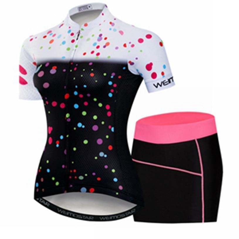 Weimostar 2018 Pro équipe cyclisme ensemble femmes à manches courtes costume Ropa Ciclismo Maillot cyclisme maillots robe ensemble dame vélo vêtements