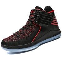 Большие размеры 37-47, высокие дышащие мужские уличные баскетбольные кроссовки, спортивные кроссовки с подушками, ботильоны, спортивные трен...
