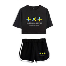 KPOP TXT Summer Women's Sets TOMORROW X TOGETHER Short Sleeve Crop Top + Shorts Sweat Suits Women Tracksuits Two Piece Outfit(China)