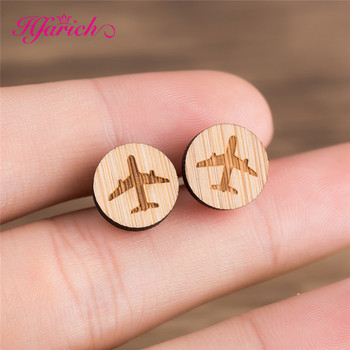 ... Hfarich Airplane Round Circle Wooden Earrings for Women Men Gift Spring  Engagement Cute Lady Aircraft Female Handmade Jewelry   ... e81e543a914d