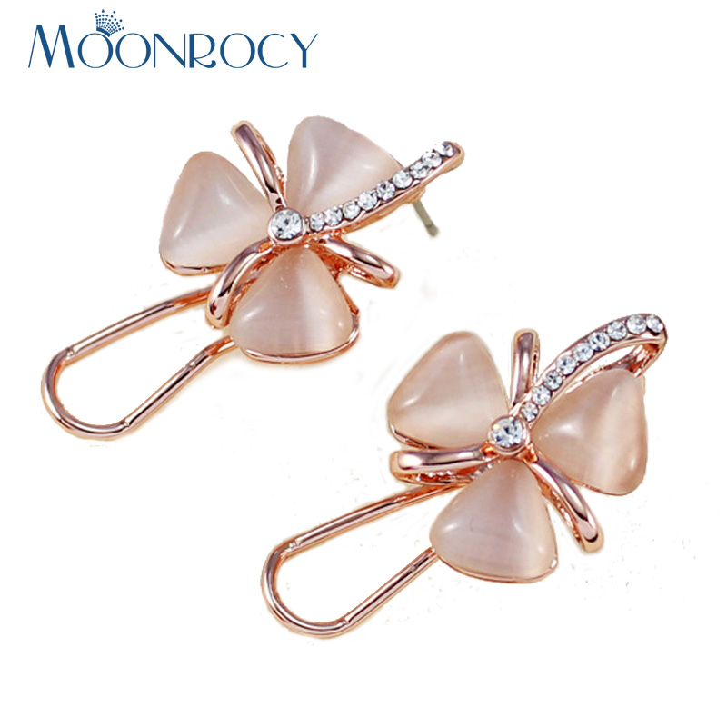 MOONROCY Free Shipping Fashion Cubic Zirconia Rose Gold Color Flower leaves Opal Crystal Earring Jewelry for Women New Gift