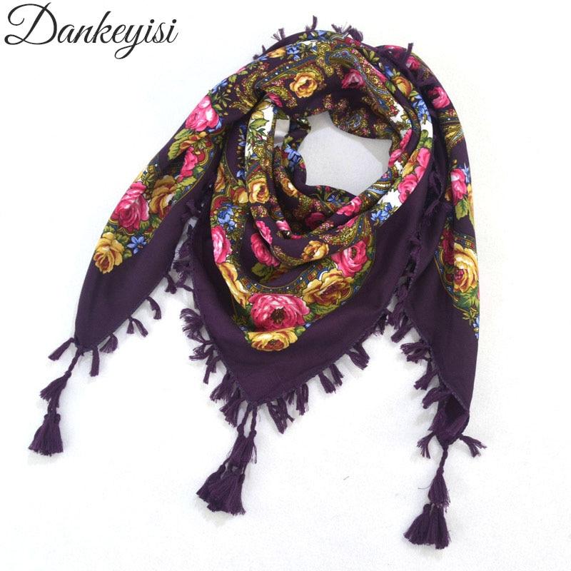 DANKEYISI Hot Sale Bohemia   Scarf   Women   Scarves   Tassel Print   Wraps   Shawls Ladies 90cm Square   Scarf   Cotton India Floural Headband