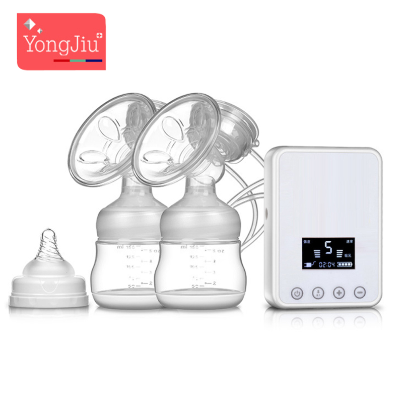 YONG JIU Usb Electric Breast Pumps Intelligent Automatic BPA Free Nipple Suction Breast milk Pump Baby bottle Maternal Feeding