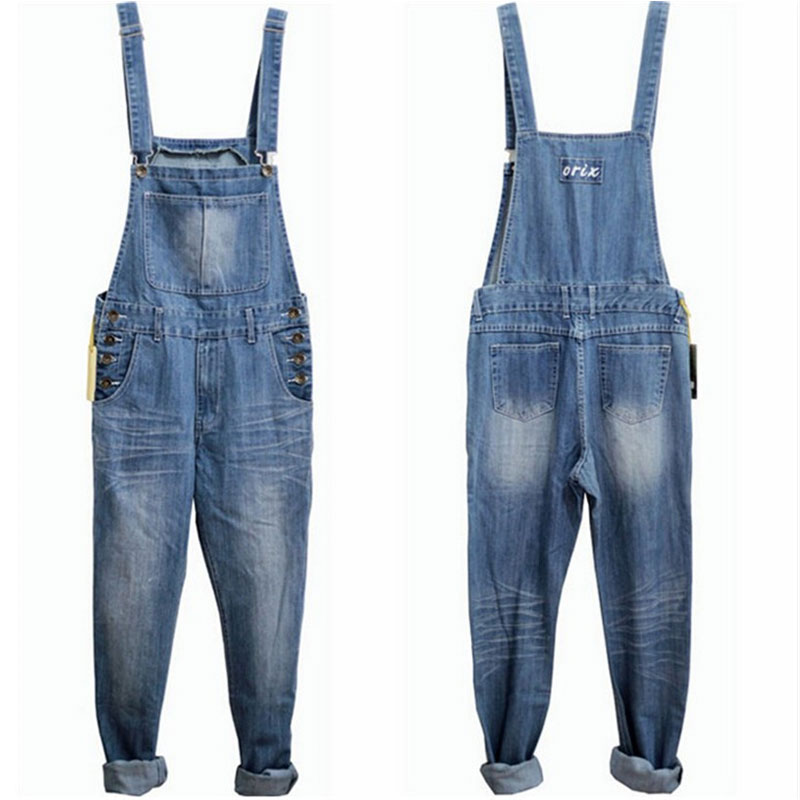 Men's Denim Bib Pants Male Loose Plus Size S-4XL Casual Jeans Straight One Piece Long Trousers Suspenders Overalls Jumpsuit free shipping 2016 plus size denim bib pants halter neck jumpsuit and rompers for women suspenders jeans ol straight trousers xl