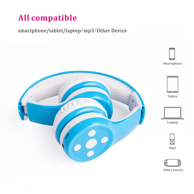 Hisonic Kids Bluetooth Headphone Wireless Noise Cancelling Protect the ear Foldable Wire Control boy girl with Microphone
