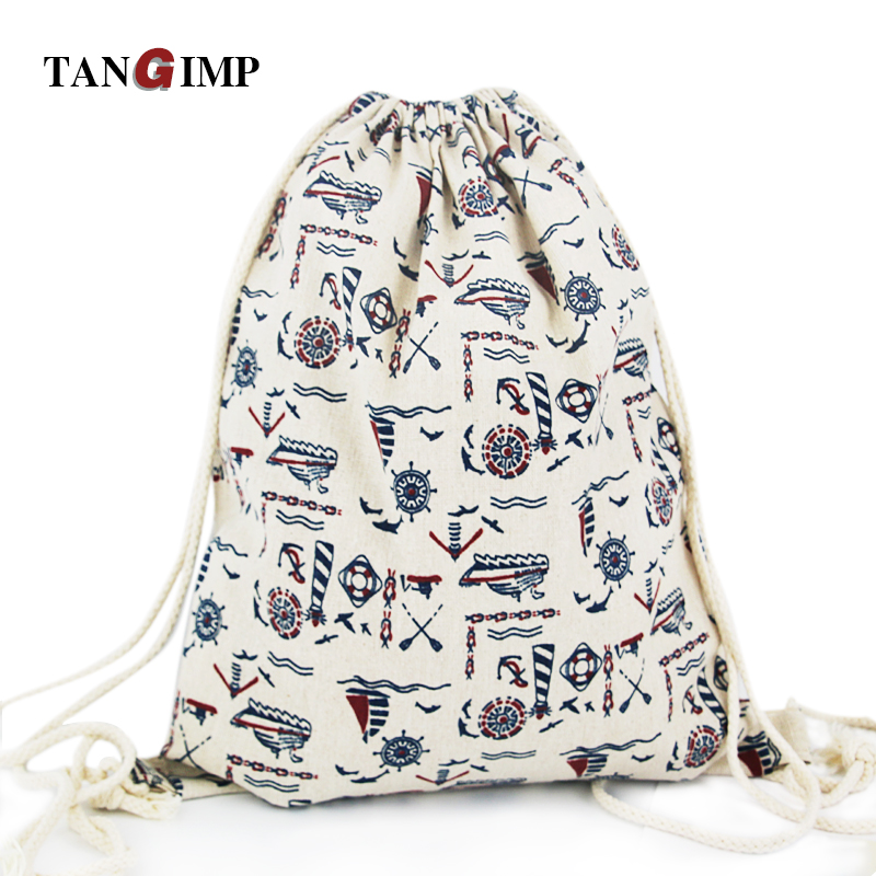 TANGIMP Anchor Drawstring Backpacks Cotton&Linen Ship Travel Softback Women harajuku Gymsacks Kids School PE String Beach Bags