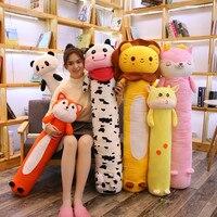 Cartoon Long Animals Plush Pillow Stuffed Cylindrical Bolster Sleeping Companion Kids Adults Rabbit/Panda/Lion/Giraffe/Fox 90cm