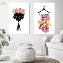 Scandinavian Style Elegant Pink Flower Canvas Posters and Prints Wall Art Painting Nordic Decoration Pictures Modern Home Decor