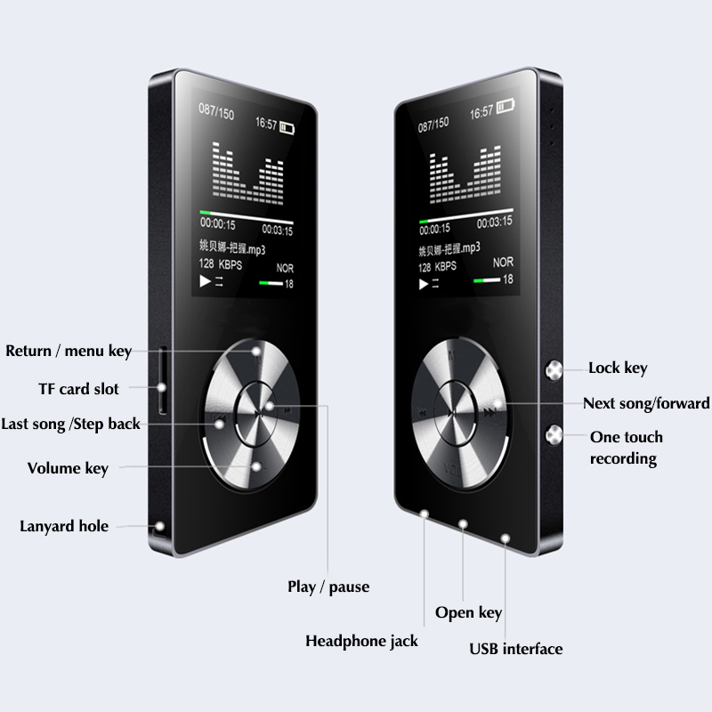 DOITOP 1.8inch TFT Screen MP3 Walkman HIFI Lossless MP3 Player FM Video E-book Recorder Clock 8GB Sport TF Expansion to 128G 2017 brand sport mp3 lossless player earphones 8gb for son walkman nwz w273 pro ws615 8g lettore mp3 players handsfree headset