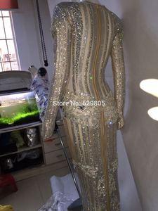 Image 4 - Luksusowe błyszczące srebrne kryształki sukienka miga Sexy etap nosić długie sukienki pełne kryształy kostium strój do świętowania sukienki