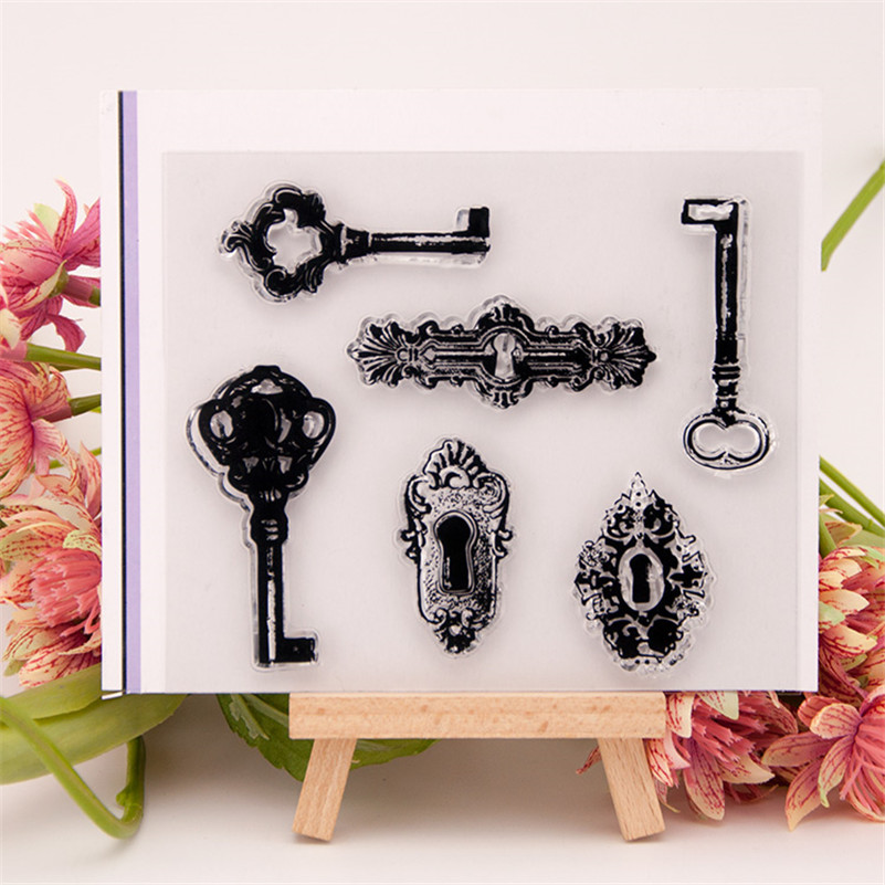 key and lock hole design Transparent Clear Stamp DIY Silicone Seals Scrapbooking Card Making Photo Album craft RM-062 lovely bear and star design clear transparent stamp rubber stamp for diy scrapbooking paper card photo album decor rm 037