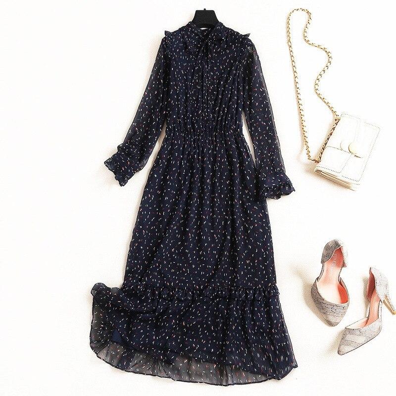 Qualité 2019 10126 ligne Les Pour En Vintage Printemps Robe Nouveautés Mi Imprimer bourgogne Shuchan mollet A Robes Femmes Supérieure Mousseline Noir Arc gqUZxBH