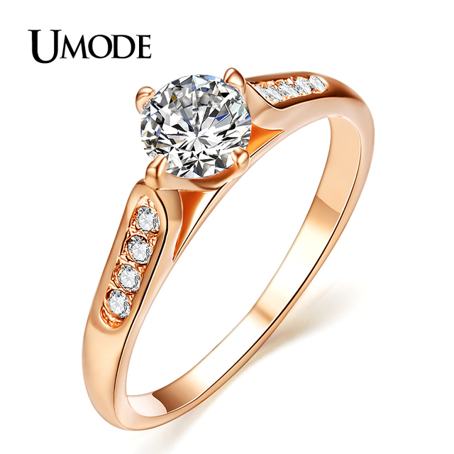 020e49658f6a UMODE Классические женские обручальные кольца 18к с покрытием из розового  золота и фианитом высшего качества 1к