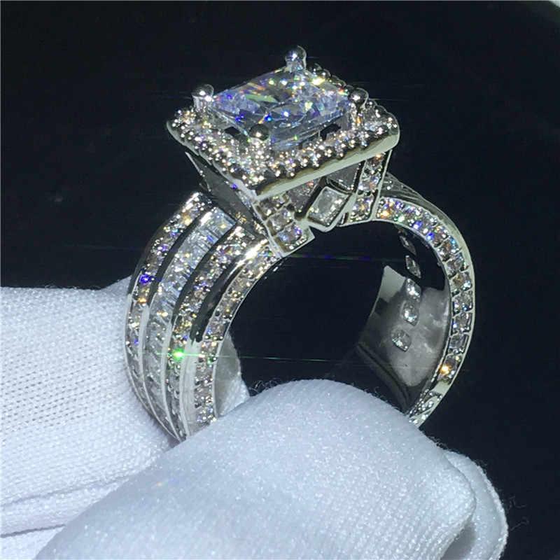 Choucong Vintage Court แหวน 925 เงินสเตอร์ลิงเจ้าหญิงตัด AAAAA หิน cz แหวนหมั้นแหวนของขวัญเครื่องประดับ