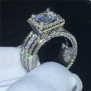 Image 3 - Choucong Vintage Gericht Ring 925 sterling Silber Prinzessin cut AAAAA cz stein Engagement Hochzeit band Ringe Für Frauen Schmuck Geschenk