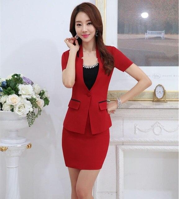 3f41b1121 € 35.25 |Nuevo elegante uniforme rojo diseño profesional negocios mujeres  trajes chaquetas y falda 2016 verano manga corta trajes Blazers conjunto ...