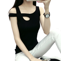 Plus Size S 3XL Cotton Hollow Sexy Tank Top Black Sleeveless T Shirts Women Camisas Femininas