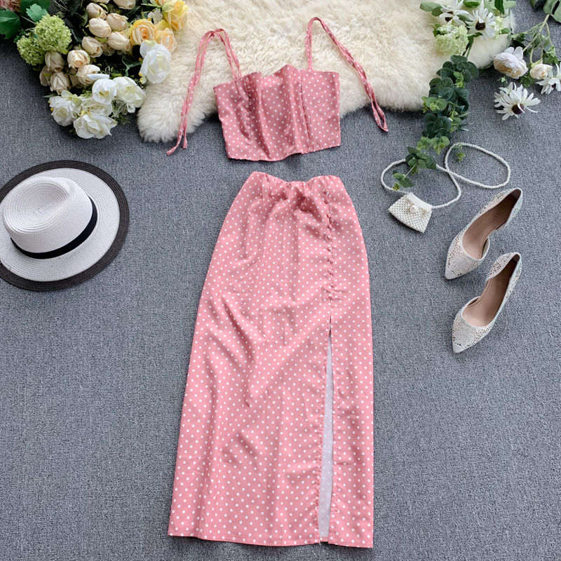 New Women Beach 2 Piece Sets Summer Spaghetti Strap Ctop Tops + Slim Skirt Dot Printed Suits Woman Sweatsuit Pink Outfit Clothes