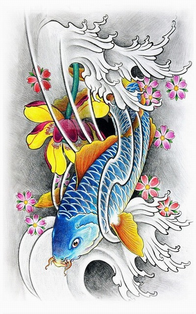 Hot color Fish Temporary Tattoo Stickers Waterproof Body Art Big Size Fake Tatoo Paste On Arm Chest Shoulder For Men
