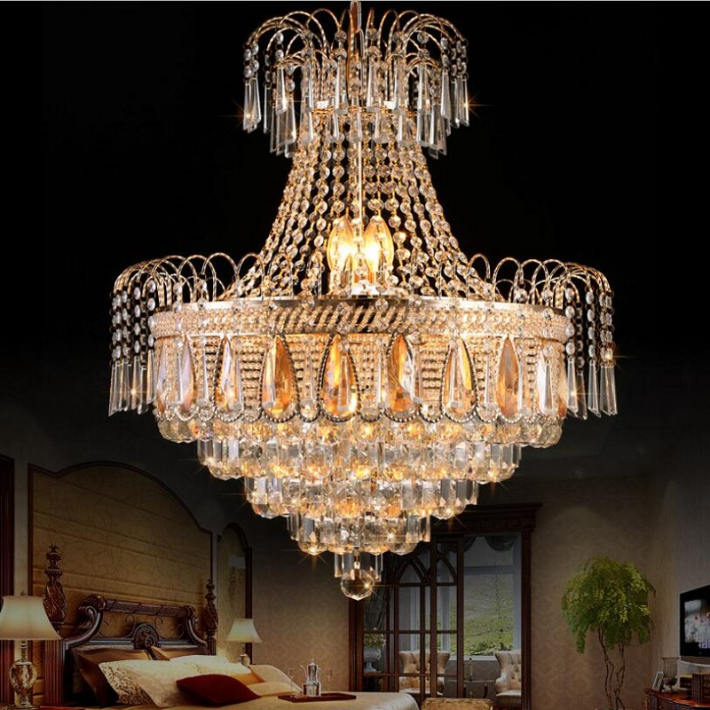 Contemporary Dining Room Chandeliers: Lustre K9 Gold Crystal Chandelier Remote Control Modern