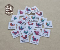 96 Custom Logo Labels Children S Clothing Tags Name Tags White Organic Cotton Labels Bird Decoration