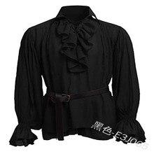 Camisa medieval Vintage para hombre, Poet renacentista, Blanco, Negro, escocés, vampiro, Colonial, blusa de jabot, camisas de pirata de manga larga
