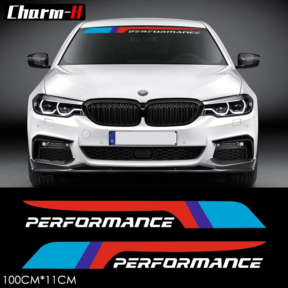 2pcs Reflective M Performance Front Rear Windshield Window Decal Stickers for BMW F10 F20 M3 M5 e46 e60 e39 e90 f15 f16 f30 f31