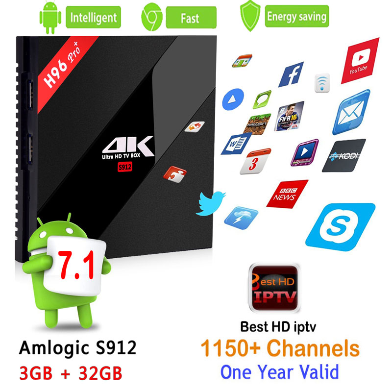 Best Arabic French Benelux IPTV tv box+ IPTV 1000 Live with H96Pro Android 7.1 Smart TV Box Amlogic S912 4K 3GB/32GB Set Top Box benelux 1 500 000