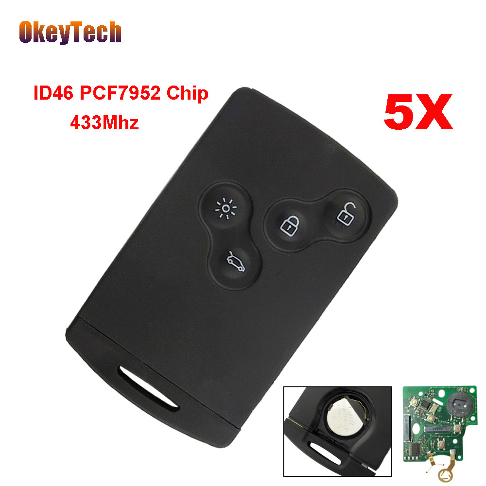 OkeyTech 5pcs/lot 4 Button Remote Key Smart Card Key Fob 433MHZ PCF7952 ID46 Chip for Renault Megane Scenic Laguna Koleos Clio 5pcs high quality compatible remote transmitter key fob for cardin s449 qz 2 qz 4