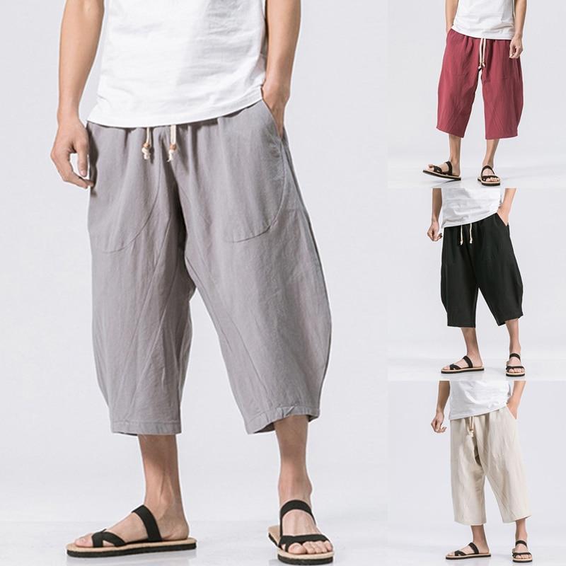 Casual Mens Pants Cotton Linen Elastic Waist Drawstring Calf Length Loose Baggy Trousers HipHop Harem Pants Innrech Market.com