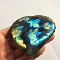 DHX SW big high quality beautiful heart natural labradorite stone heart reiki healing crystal moonstone remove negative energy