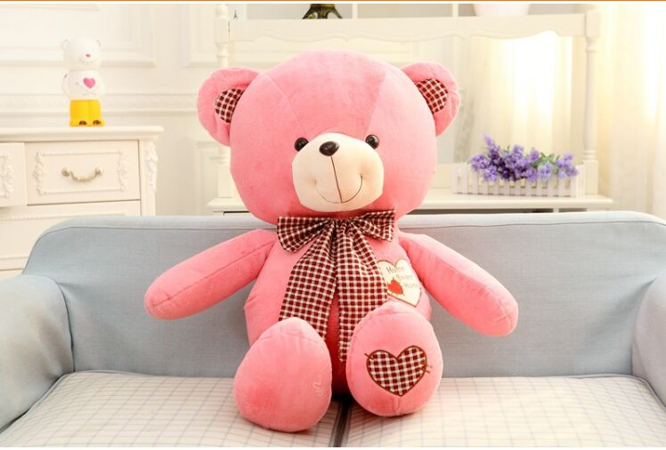 lovely teddy bear toy plush pink bow teddy bear heart bear doll gift about 80cm huge lovely plush teddy bear toy with blue heart and bow creative bear doll gift about 120cm