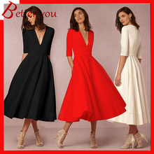 2019 women dress high-end autumn winter office dress new deep V-neck sexy half sleeve dress black red color chiffon midi dress недорого