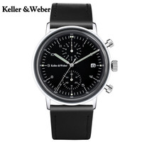 KW Brief Quartz Chronograph Wrist Watch For Men Leather Strap Formal Classic Black White Dial Watches