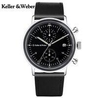KW Thạch Anh Ngắn Gọn Chronograph Wrist Watch for Men Leather Strap Chính Thức Cổ Điển Đen/White Quay Số Đồng Hồ Chất Lượng Cao