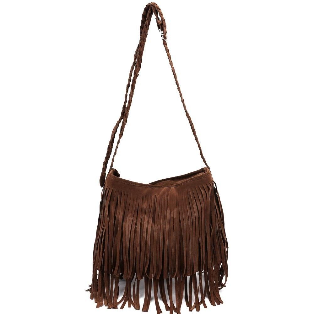 5pcs of  Fringe Tassel Faux Suede Shoulder Messenger Bag Women Handbag Brown 5 pcs of p