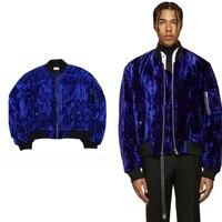 2017 fashion Kanye West Oversized Jackets Vintage Wine Red men women Velvet Fabric Pleated Sleeve Designer Bomber Jacket Coats