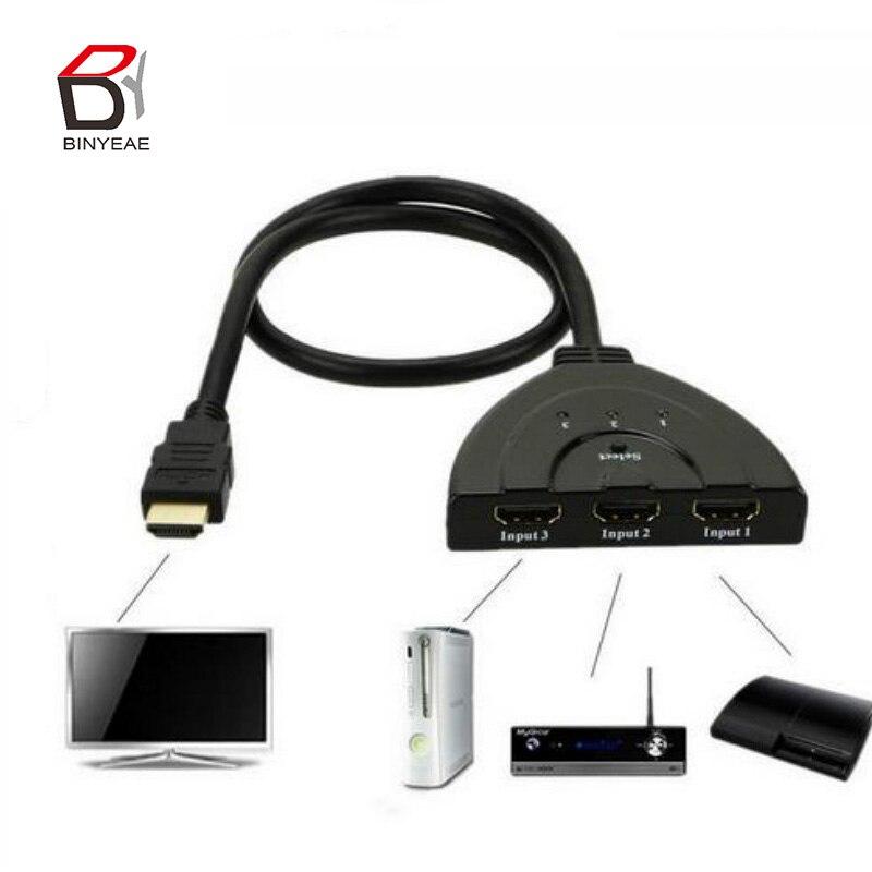 Мини-коммутатор с 3 портами, переходник HDMI разветвитель, 1080, 4K * 2K, P, HDMI, 3 в 1, порт выхода, концентратор для HDTV, Xbox, PS3, PS4