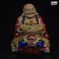 Shiwan Doll Boutique Maitreya Buddha Zen Master Sat Toad Ceramic Crafts Home Furnishing Feng Shui Lucky