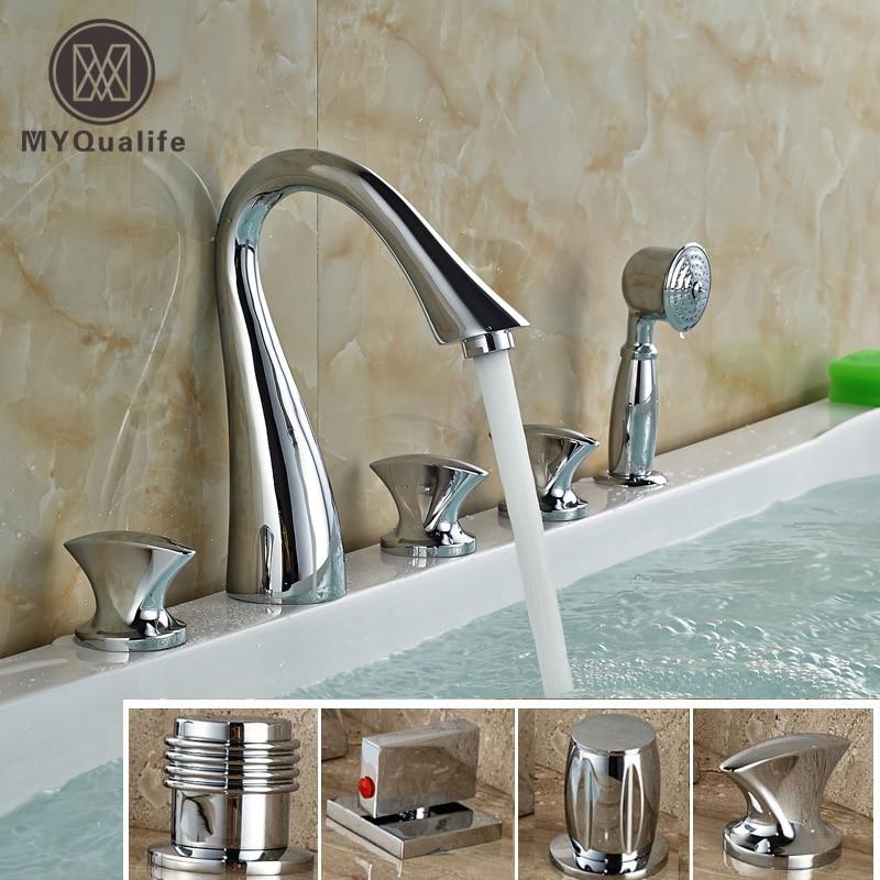 №Cromo montado generalizada baño grifo de la bañera tres manijas ...