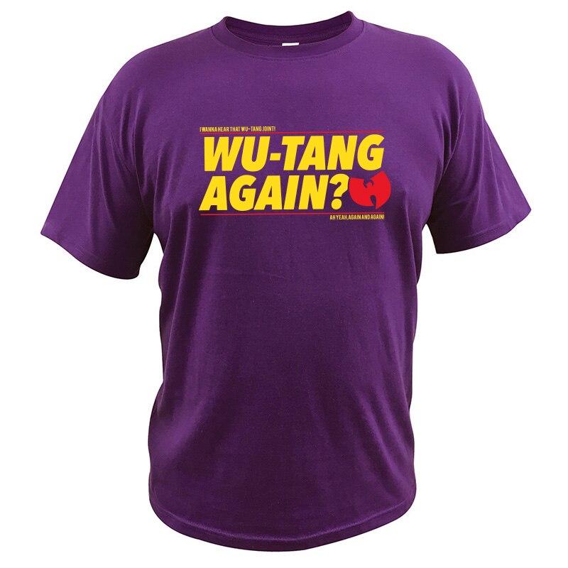 EU Size 100% Cotton   T     Shirt   Wu Tang Clan Tops Hip-Hop Band Letter Print   Shirt   Men Comfortable Short Sleeve Crewneck Loose Tee