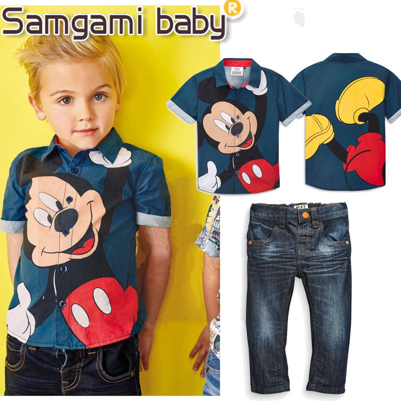 SAMGAMI BABY 2018 New Fashion Children Clothes Tracksuit Micket Mouse T-shirt + Jeans Kids Costume Boys Clothing Set Retail 2pcs children outfit clothes kids baby girl off shoulder cotton ruffled sleeve tops striped t shirt blue denim jeans sunsuit set